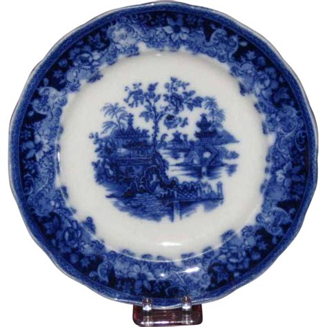 Ac 2437 Silver gorgeous flow blue plate shanghai pattern late 19th