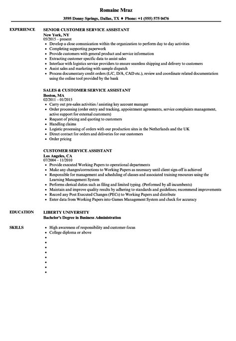 customer service assistant resume sles velvet jobs