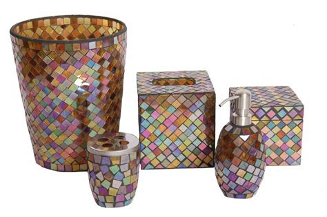 mosaic bathroom set mosaic glass bathroom accessory set 5 pieces