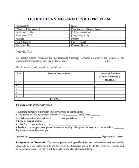 free cleaning service bid templates service template 14 free word pdf document