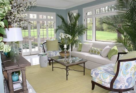 Sunroom Paint Color Ideas Soft Blue Sunroom S Wall Paint Colors With White Sofa And