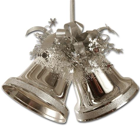 silver bell and ball christmas decorations