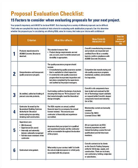 project evaluation checklist template 8 project evaluation checklist templates free sles
