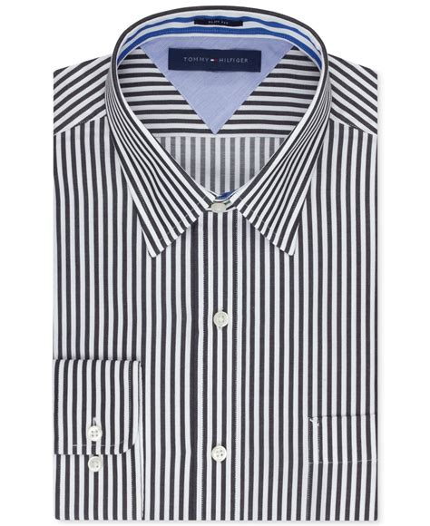hilfiger slim fit bold stripe dress shirt in black