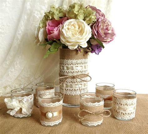 Country Chic Wedding Decor by Burlap And Lace Covered Votive Tea Candles And Vase
