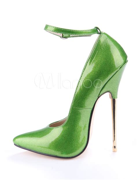 green glitter high heels green glitter ankle patent leather s high