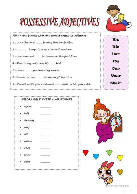 Possessive Adjectives Worksheet by Possessive Adjectives Worksheet Free Esl Printable