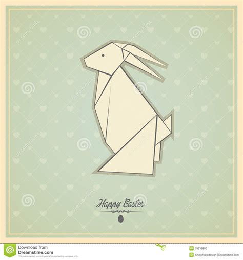 Easter Origami Bunny - happy easter cards with origami bunny stock vector image