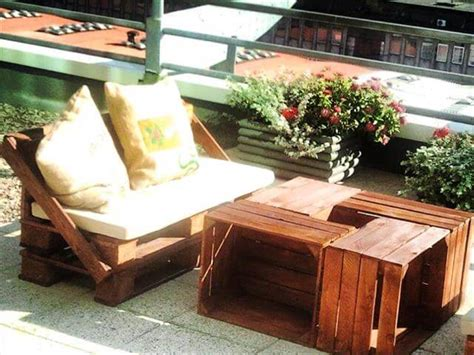 diy terrace furniture made of pallets and crates