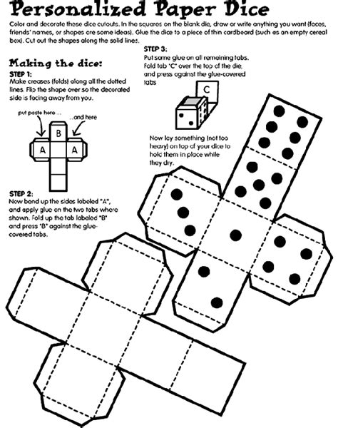 How To Make A Paper Die - personalized paper dice coloring page crayola