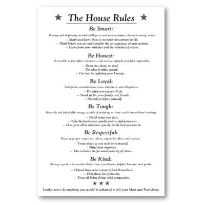 printable house rules template the house rules v3white poster house rules house and