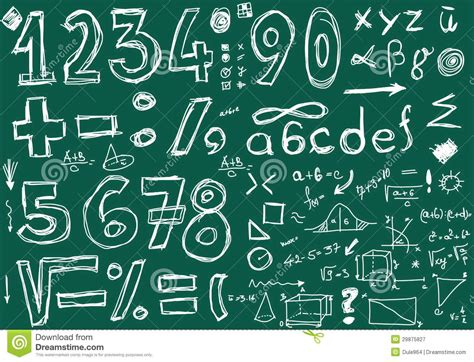 doodle numbers  mathematical symbols royalty  stock