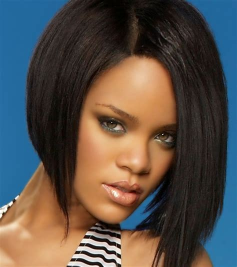 hair longer on one side hairstylegalleries com rihanna with her reversed bob hairstyle with black hair