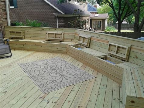 wood deck bench deck plan with built in benches for seating and storage