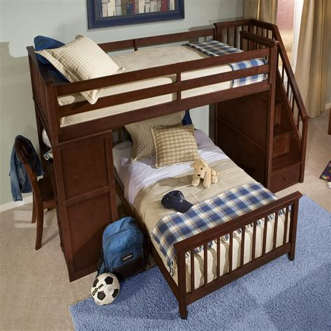 furniture brown wood bunk bed with l shaped desk and