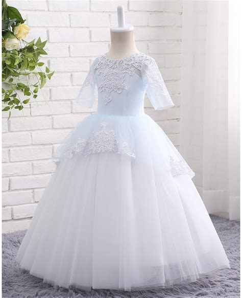 White Flower Dress Excellent Quality high quality lace blue and white gown tulle flower dress floor length ctz004 87 99