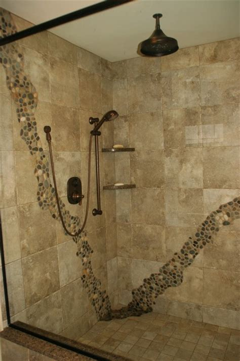 Ideas For Tiling Bathrooms by Rustic Shower Rustic Bathroom Cleveland By