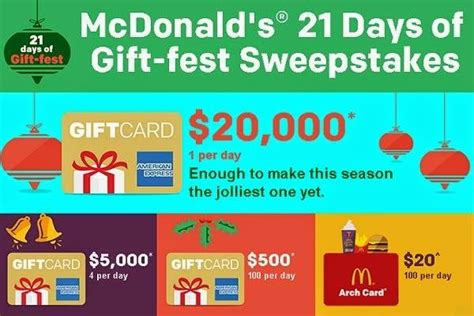 American Express Wish A Day Giveaway - mcdonald s gift fest sweepstakes on mcdgiftfest com sweepstakesbible