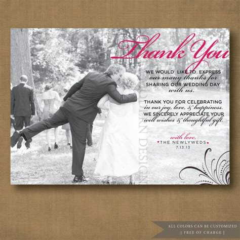 thank you letter after wedding wedding thank you card printable wedding