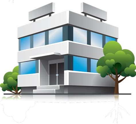 building clipart 3d houses and office buildings vectors
