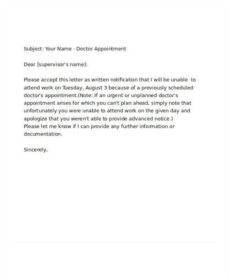 doctor appointment leave letter request letter for doctor appointment