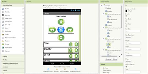 design app inventor android application to control robotic arm rc car using