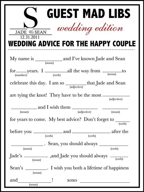 guest libs wedding edition template 1000 ideas about mad libs for adults on