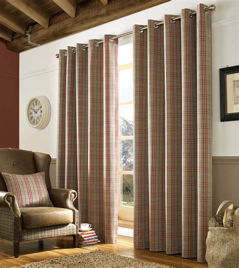 beige tartan curtains tartan check red brown beige woven lined ring top curtains