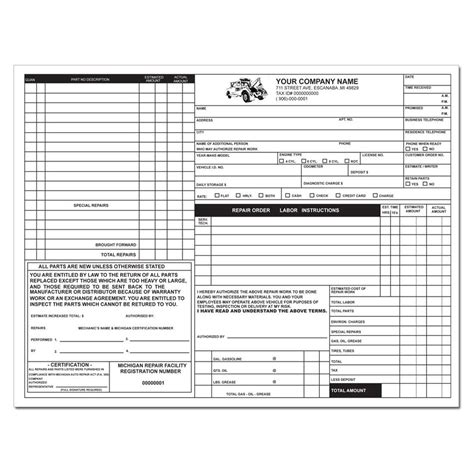 Product Details Designsnprint Florida Auto Repair Invoice Template