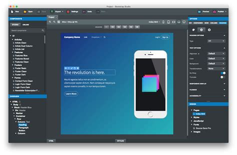 bootstrap layout editor bootstrap studio