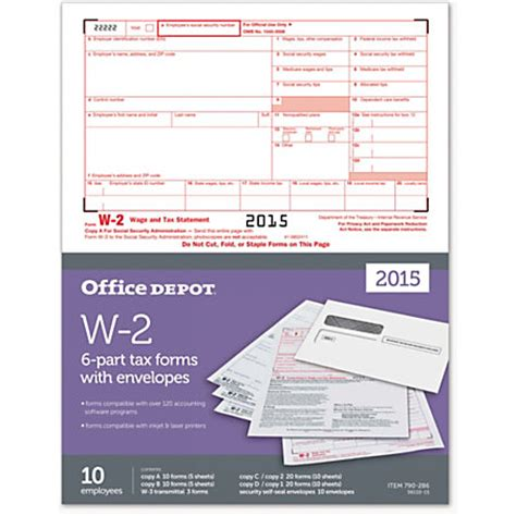 office depot brand w 2 laser tax forms and envelopes 6