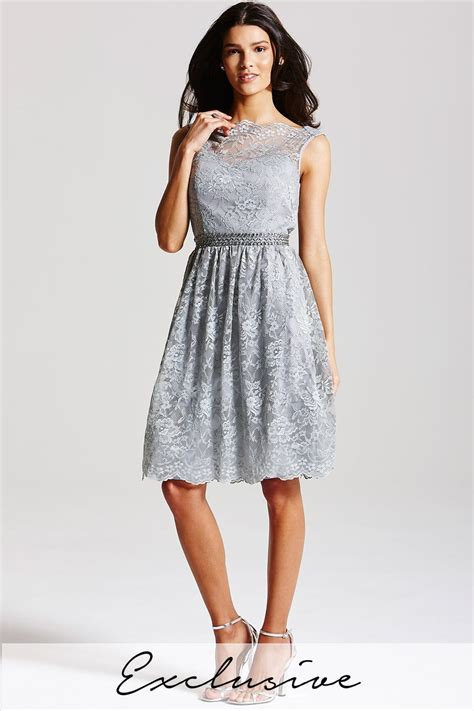 Dress Lace Grey grey lace fit and flare dress from uk