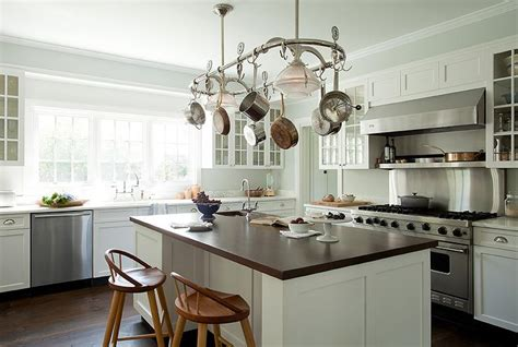 kitchen island with pot rack pot rack island cottage kitchen tim barber
