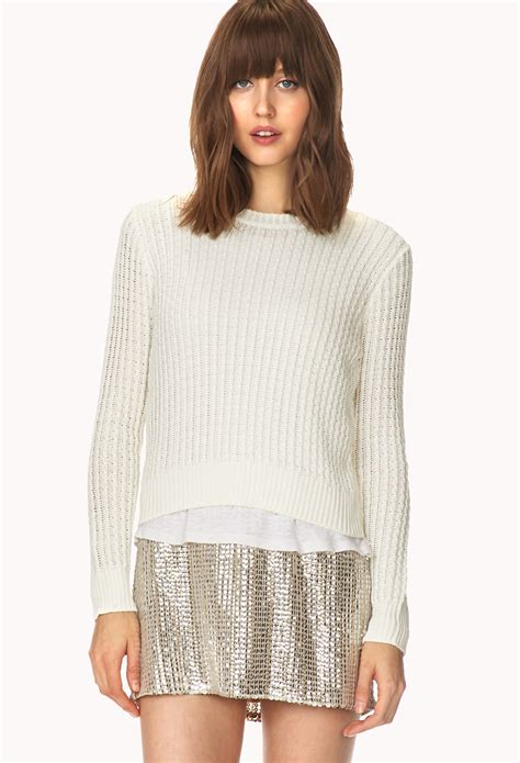 forever 21 cable knit sweater forever 21 crisp cable knit sweater in white lyst