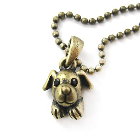 puppy necklace adorable puppy animal charm pendant necklace in bronze 183 dotoly animal jewelry