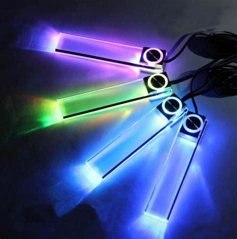 4pcs set multicolor automotive ambient light car led mood