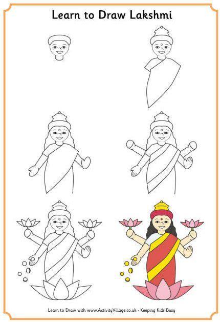 L Drawing Step By Step by Activite Apprendre 224 Dessiner Lakshmi Dieu Hindou De La