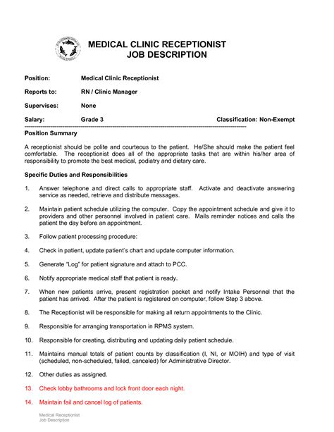 Receptionist Description For Resume 10 exle resume receptionist description