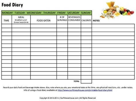printable food diary form printable food diary to monitor what you eat