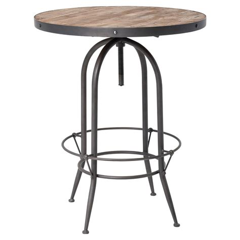wood round pub table clive industrial loft adjustable round black iron