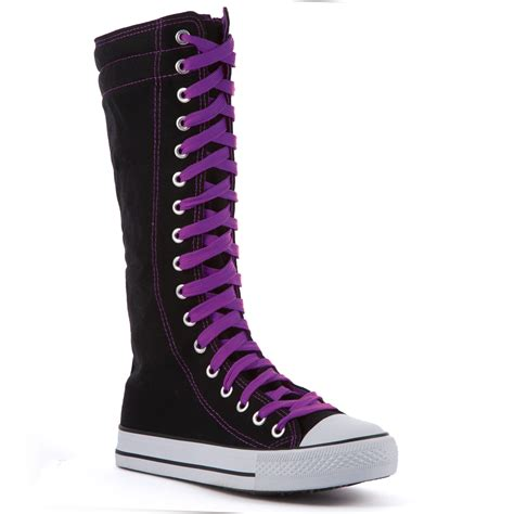 knee high shoes for womens knee high canvas boots casual sneakers lace up