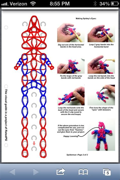 spiderman loom pattern spiderman part 2 rainbow loom pattern momma s boys