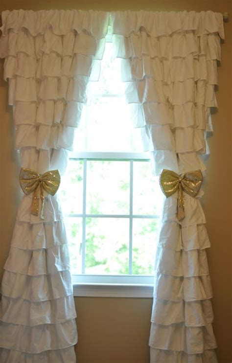 ruffled curtains nursery ruffle curtains nursery gold tie backs oh baby