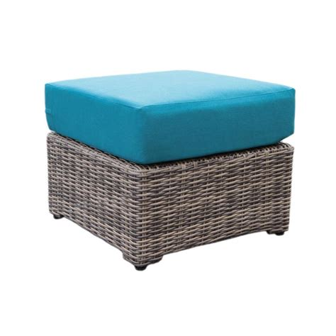 Outdoor Ottoman Cushions Ae Outdoor Cherry Hill Patio Ottoman With Spectrum Peacock Cushion 569020pea The Home Depot
