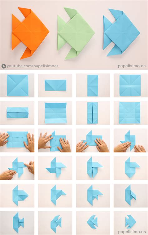Paper Folding Fish - pez de papel papiroflexia origami paper fish papelisimo