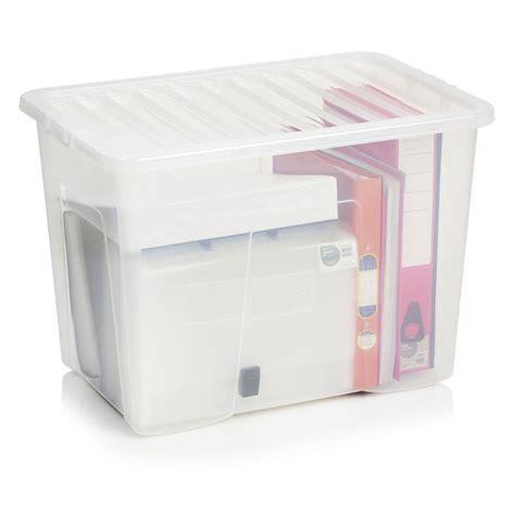 Wilkinsons Plastic Storage Drawers by Wilko Storage Box With Lid Clear 80l Storage Wilkocom
