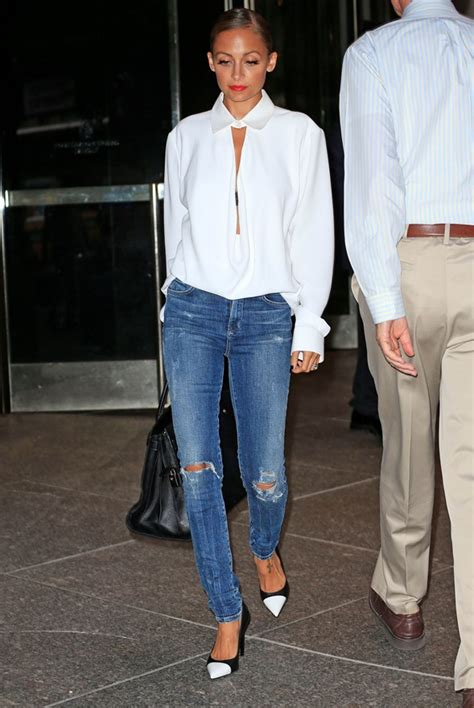Nicole Richie Wearing Jeans | nicole richie s white collar and cap toe lainey gossip