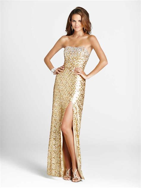 Id 1658 Sequins Strapless Split Dress of wedding and occasion wear sequin prom gowns to sparkle your