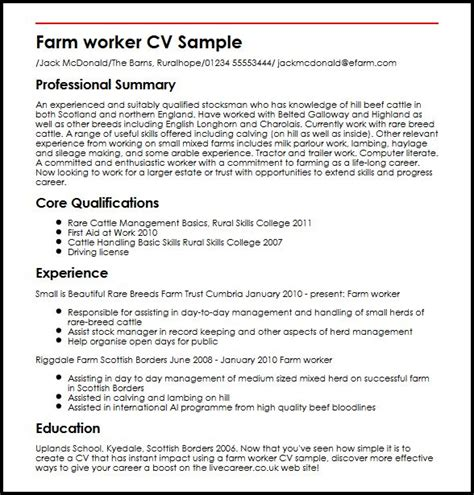 Farm Worker Sle Resume by Farm Worker Cv Sle Myperfectcv