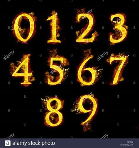 In Flames 5 0 1 2 3 4 5 6 7 8 9 numbers with flames stock photo